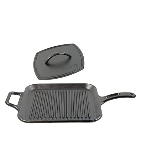 Lodge 12 Inch Square Cast Iron Grill Pan. Ribbed 12-Inch Square Cast Iron Grill Pan with Iron Ribbed Grill Press