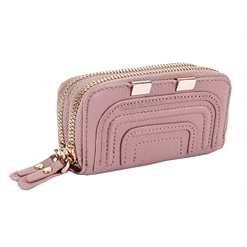 Amazon.com  Women s Double Zipper Leather Card Holder Coin Purse Key Case  with 6 Hooks Wallet Pale Mauve  Home   Kitchen db7862039