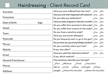 Hairdressing Client Record Card / Consultation Card - Pack of 100