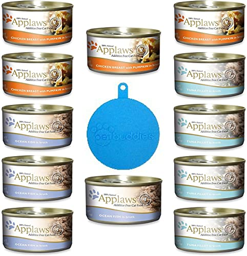 Applaws Additive Free Canned Cat Food in Broth in 3 Flavors 3 Tuna, 3 Ocean Fish and 3 Chicken with Pumpkin 12 Cans Total, 2.47 Ounces Each Plus Silicone Can Lid – 13 Items Total