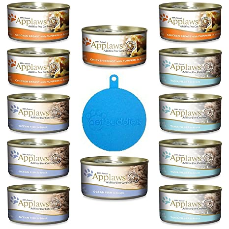 Applaws Additive Free Canned Cat Food 3 Flavor Variety Bundle (12 Cans Total, 2.47