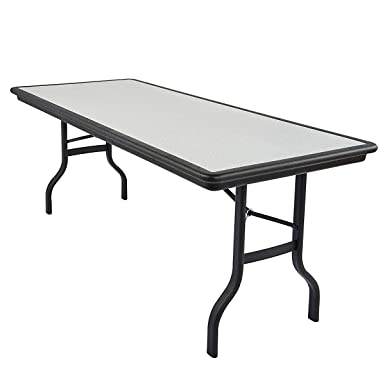 Iceberg ICE65127 IndestrucTable Folding Table with Black Legs and Top, Steel Reinforced Blow-Molded Plastic, 1500 lbs Load Capacity, 72 Length x 30 Width x 29 Height, Granite