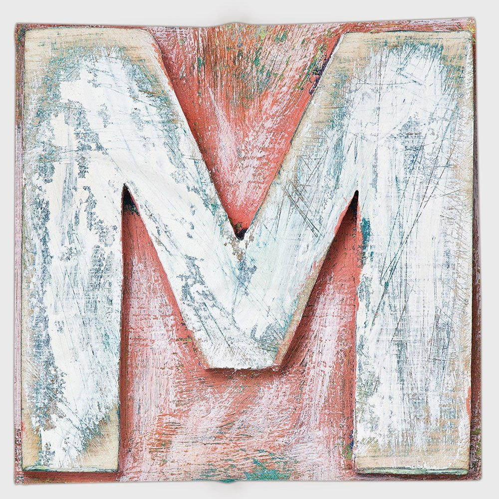 Cotton Microfiber Hand Towel,Letter M,Old Wood Capital Letter M Natural Worn Out Look Texture Language Image,Coral White Cream,for Kids, Teens, and Adults,One Side Printing