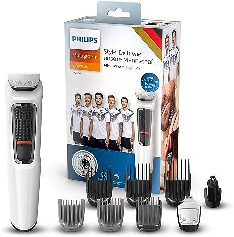 Philips MULTIGROOM Series 3000 MG3758/15 cortadora de pelo y maquinilla Negro, Blanco Recargable - Afeitadora (Negro, Blanco, 1 mm, 1,6 cm, Barba, Nariz, Acero inoxidable, 70 min): Amazon.es: Hogar