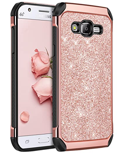 brand new 87d0e 3a0a3 Galaxy J7 Case 2015, J700 Case,BENTOBEN Shockproof Luxury Glitter Bling  Slim 2 in 1 Hybrid Hard Cover with Sparkly Shiny Faux Leather Protective  Phone ...