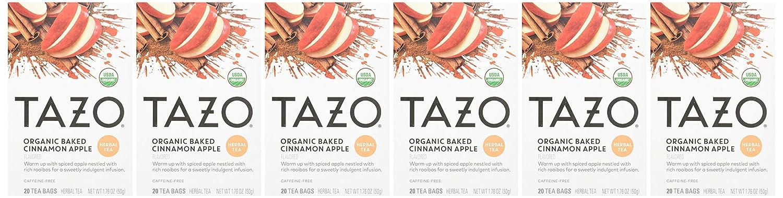 TAZO Organic Baked Cinnamon Apple Tea Bags 20 ct, 120 Count, (Pack of 6)