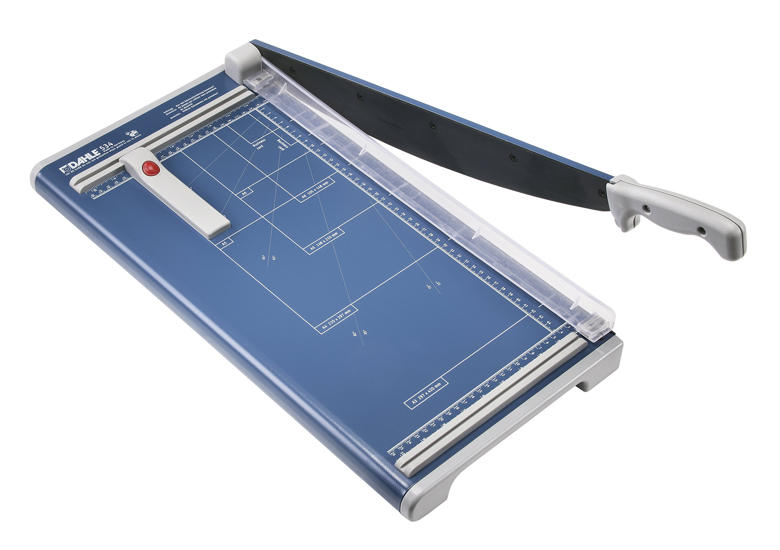 Dahle 534 Professional Guillotine Lever Style Paper Trimmer, 18'' Cut Length, 15 Sheet, Solingen Steel Self-Sharpening Blade, Safety Features, Automatic clamp, Sturdy Metal Base, Paper Cutter