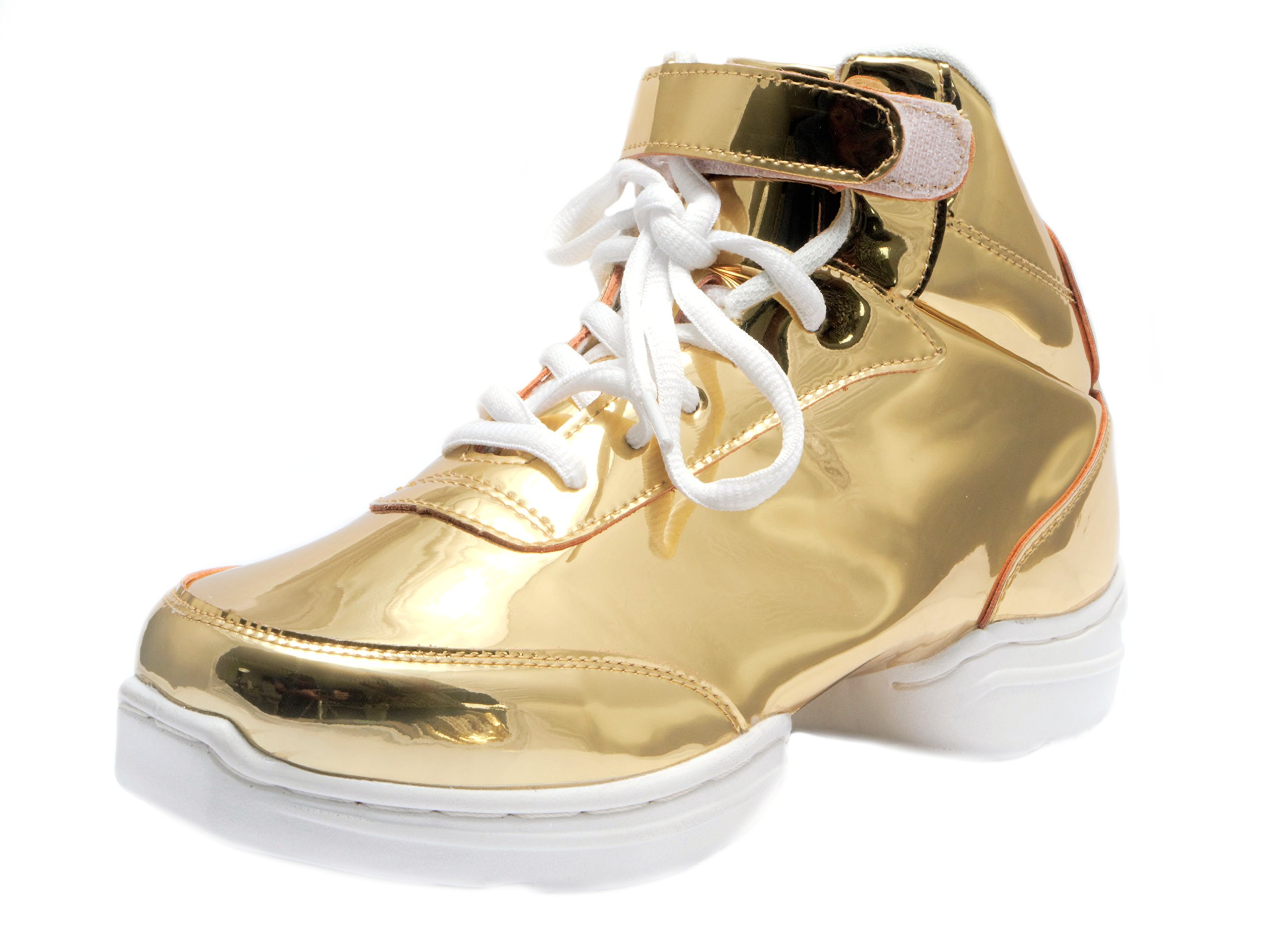 Nene's Collection Gold Women's Dance Fitness Shoes High Top Sneakers (6.5) by Nene's Collection (Image #1)