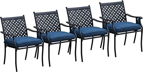 LOKATSE HOME 4 Piece Outdoor Patio Metal Wrought Iron Dining Chair Set with Arms and Seat Cushions – Blue