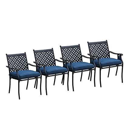 Incredible Lokatse Home 4 Piece Outdoor Patio Metal Wrought Iron Dining Chair Set With Arms And Seat Cushions Blue Spiritservingveterans Wood Chair Design Ideas Spiritservingveteransorg