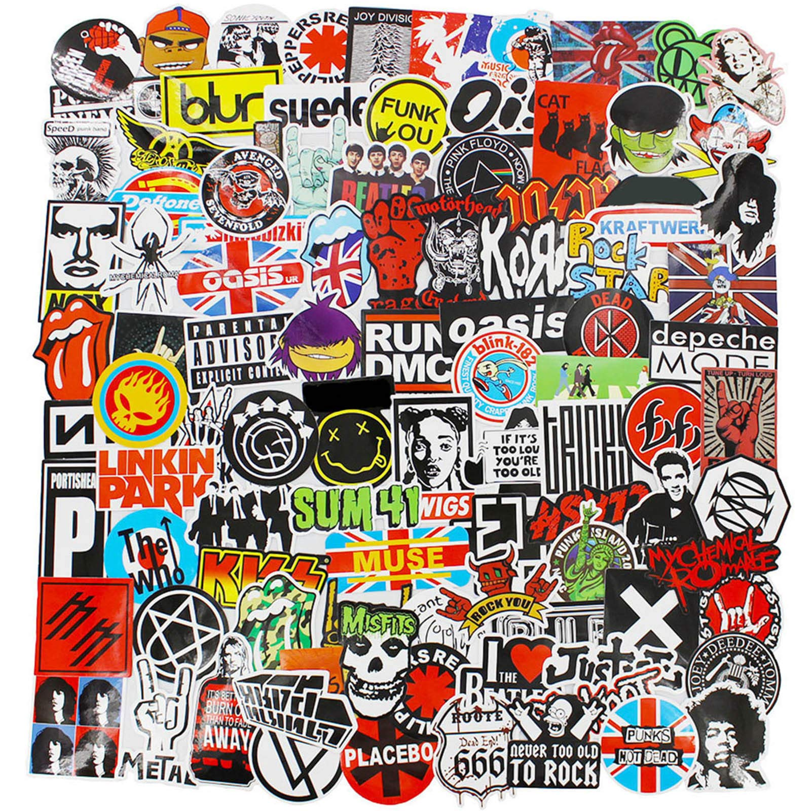 Band Stickers Pack Rock Roll Stickers Decals Laptop Cars Guitar Bumper Punk Classic Vinyl Waterproof Graffiti 100pcs