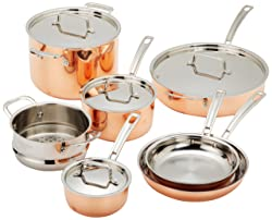 Best copper cookware: Cuisinart CTP-11AM Copper Tri-Ply Stainless Steel 11-Piece Cookware Set