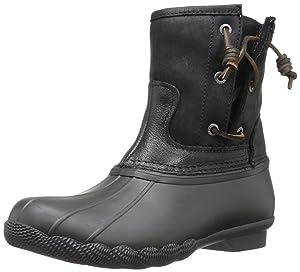 Sperry Top-Sider Women's Saltwater Pearl Seasonal Rain Boot, Black, 12 M US