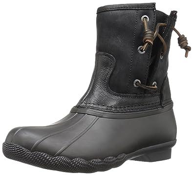 Sperry Women s Saltwater Pearl Seasonal Black Rain Boot 1d5ba1eb404c