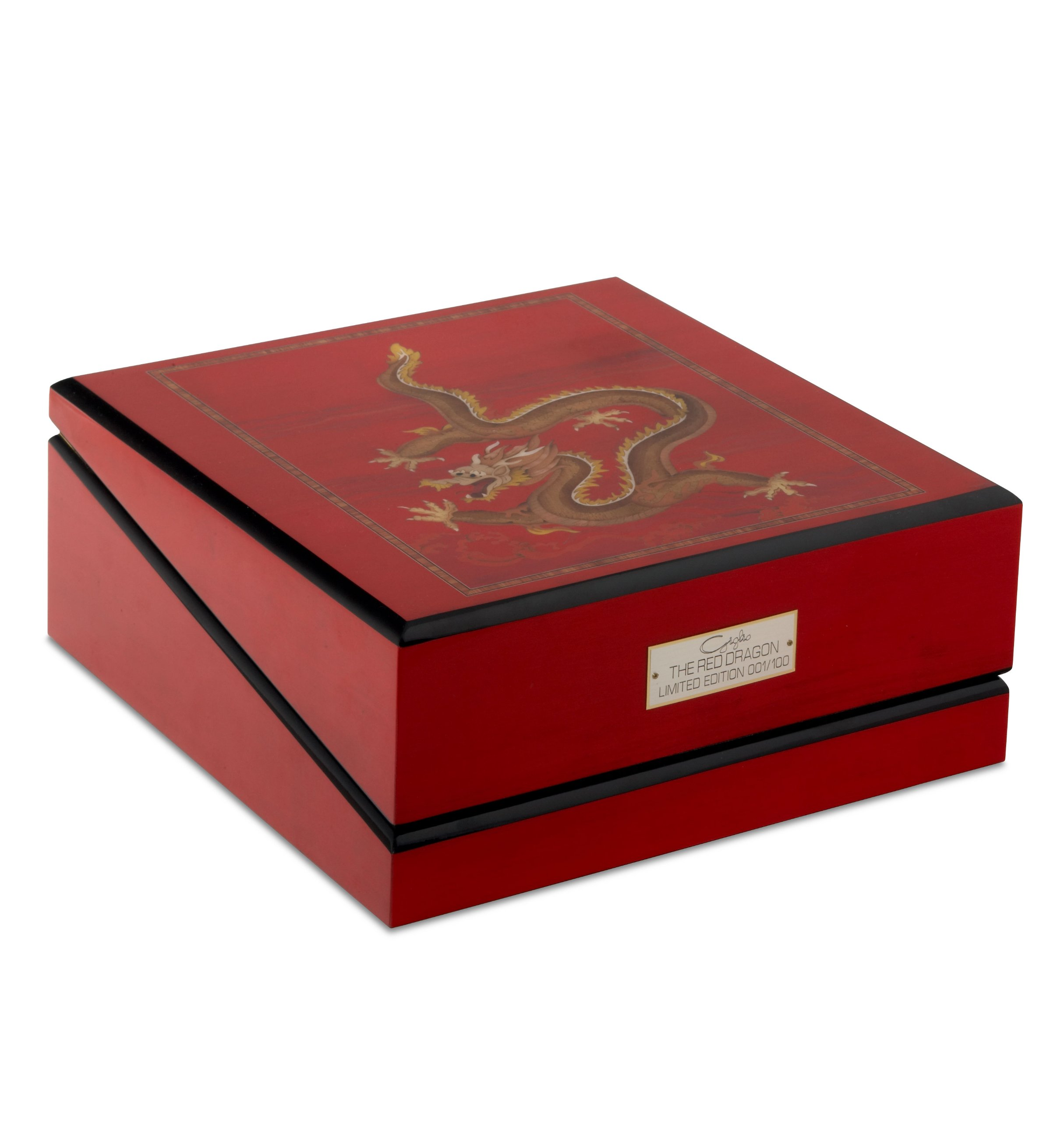 Giglio Red Dragon 3 Programmable Watch Winder With Numbered Plaque by Orbita