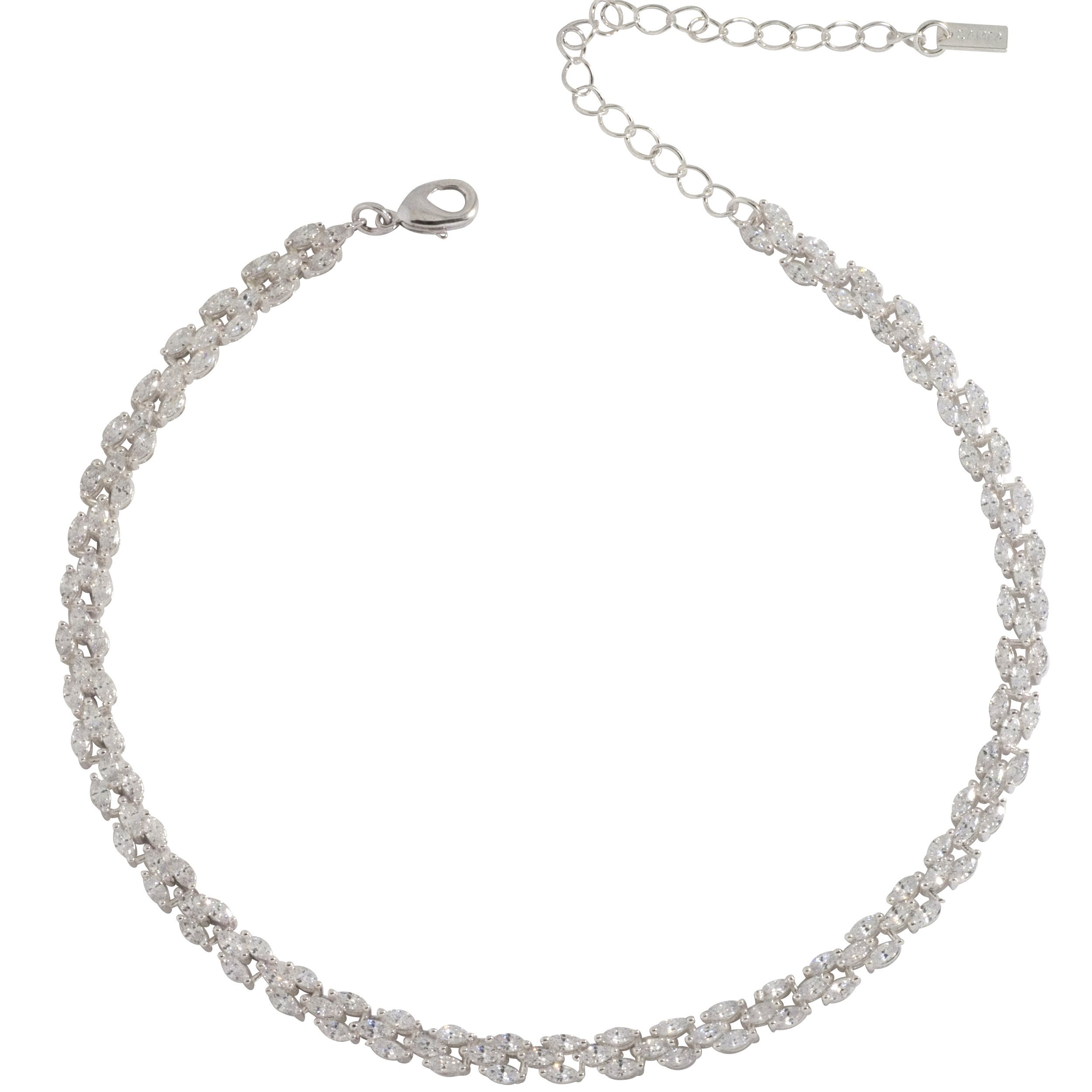 Samfa Style Marquis Diamond Choker Necklace with Extension (Silver)