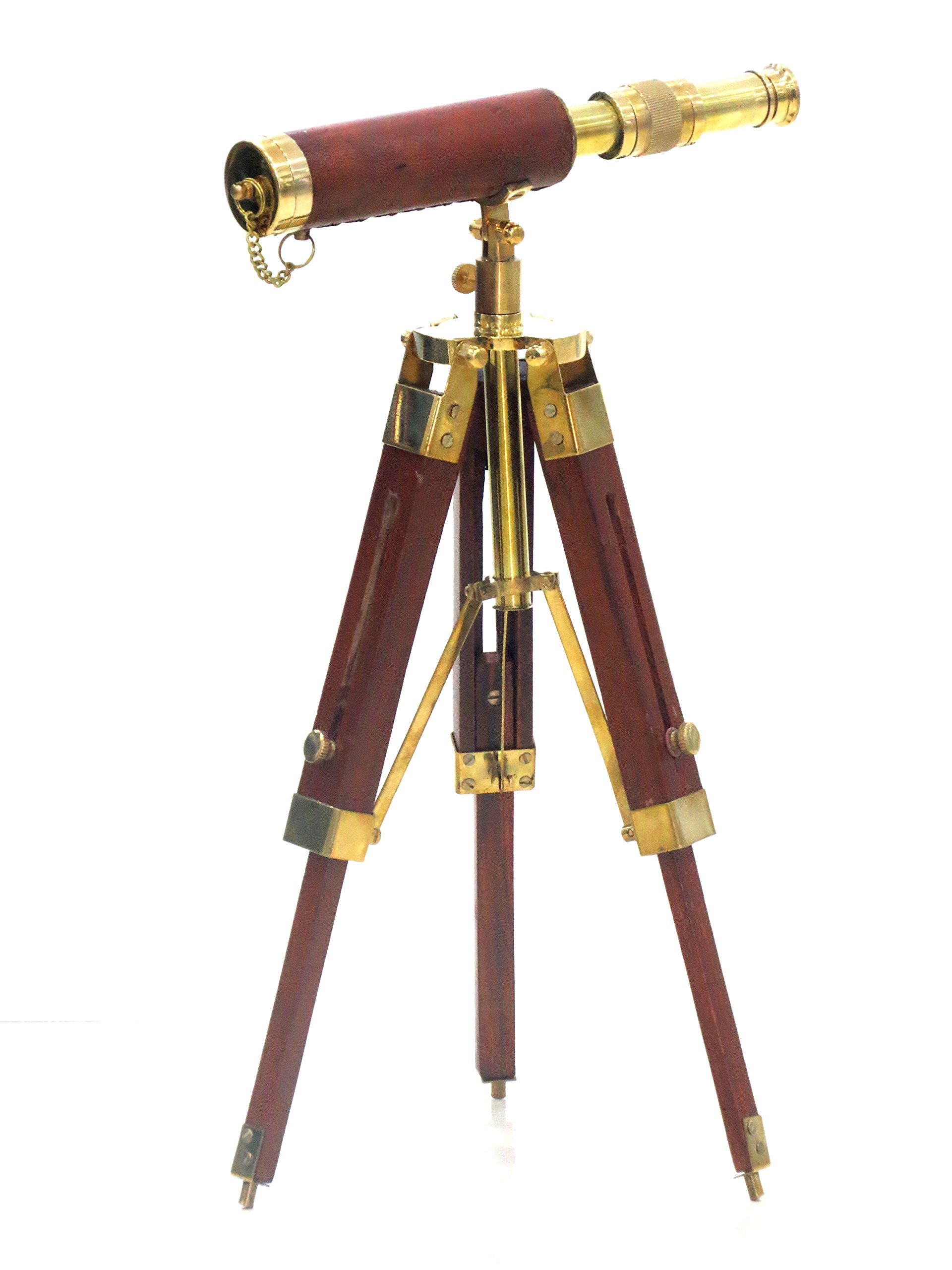 Solid Brass Telescope with Wooden Tripod Stand - Gifts - Gift by Nauticalmart by NAUTICALMART