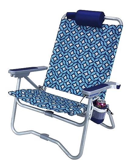GCI Outdoor Waterside Bi Fold Reclining Beach Chair With Pillow Headrest,  Laguna
