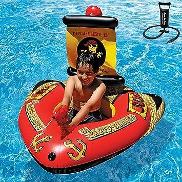 ZEDMA Colchoneta Hinchable Flotador Flotante Barco Pirata Gigante ...