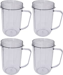 Blendin 4 Pack 16 Ounce Party Mugs Cups,Compatible with Original Magic Bullet Blender MB1001