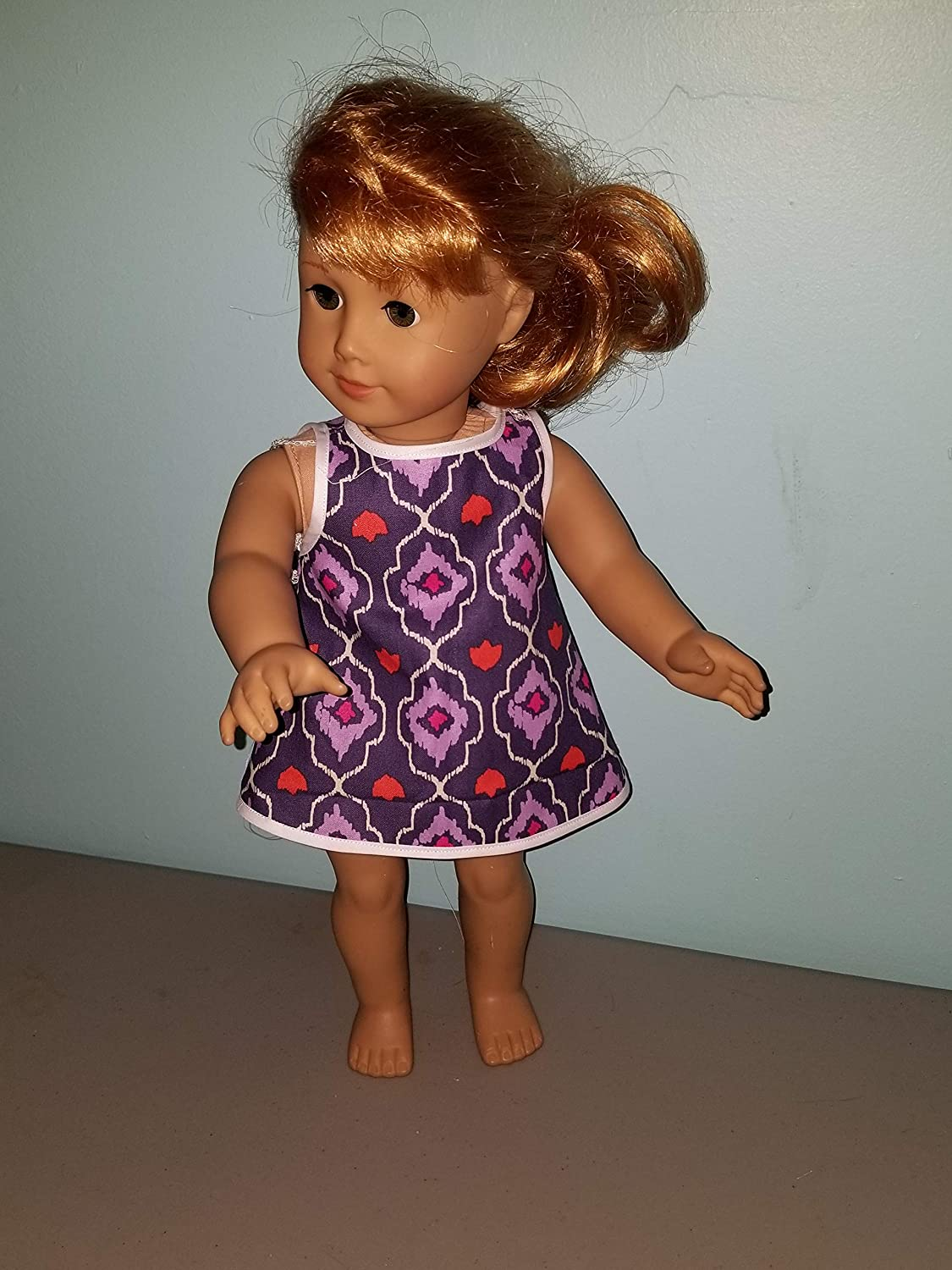 my life our generation 18 Doll Purple and White argyle Dress Retro fits American girl