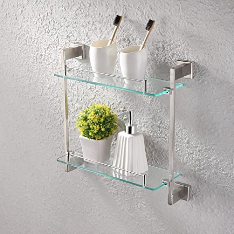 Amazon.com: KES Bathroom Glass Shelf 2 Tier Shower Caddy Bath Basket ...