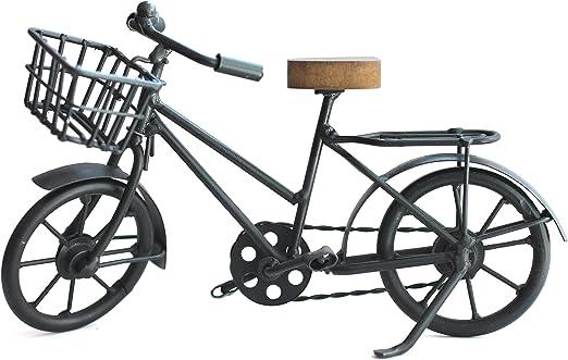 Solinga Bicicleta con Cesta Decorativa de Metal y sillín de Madera ...