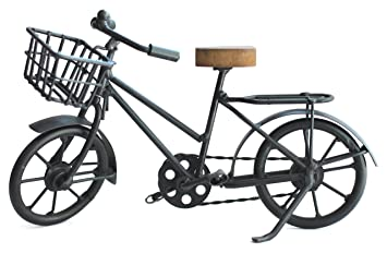 Deko Fahrrad Mit Korb Aus Metall Und Sattel Aus Holz Fur