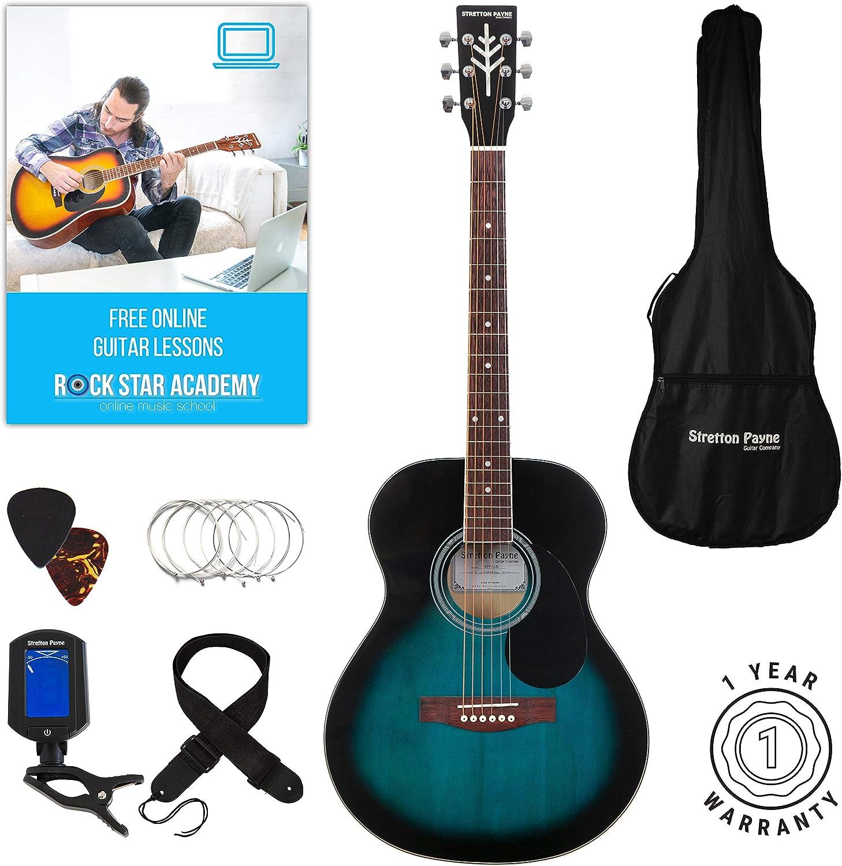 Stretton Payne - Guitarra acústica (tamaño pequeño), color azul ...