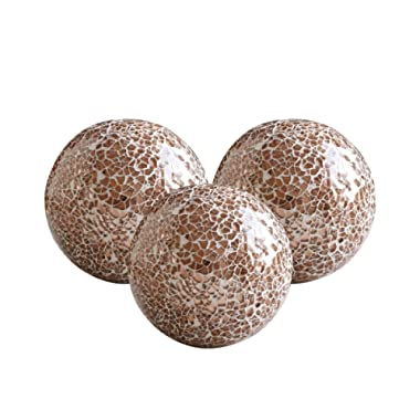 WH Housewares Decorative Orbs Set of 3 Glass Mosaic Sphere Balls Diameter 4  (Rose Gold) for Bowls,Vases and Table Centerpieces.