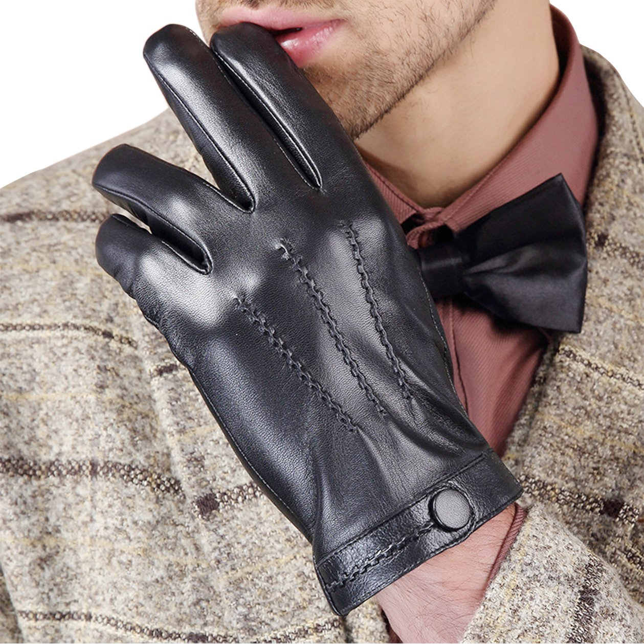 Leather gloves winter warm fashion simple business sheepskin gloves black classic for men size L