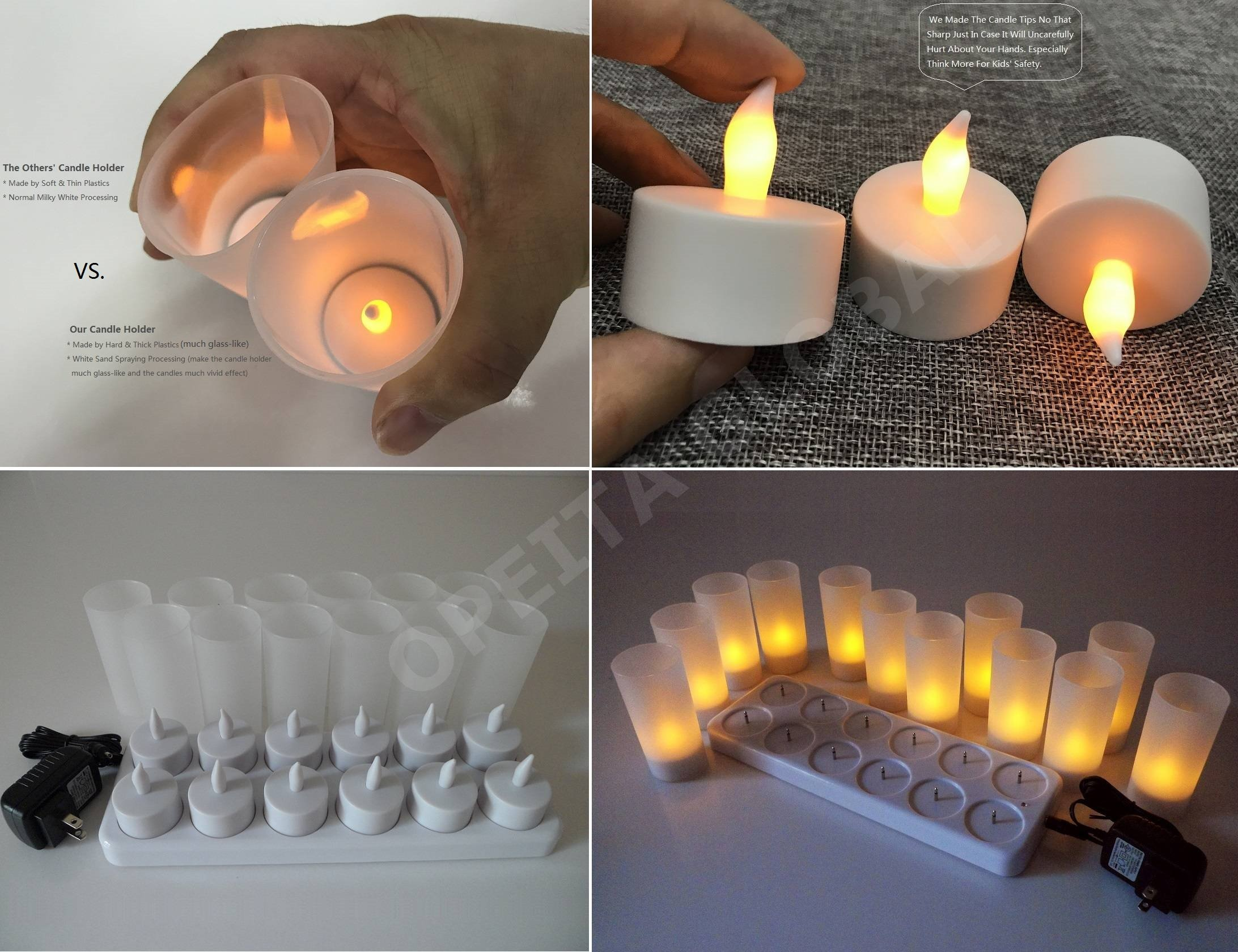 Opeita Rechargeable Candles (12 Pack), Flickering LED Tea Lights,Flameless Candle Light, Premium LEDs In High Brightness, Long Lasting 10~12 hours, Ideal For Restaurants,Coffee Shops,Hotel and Home by Opeita