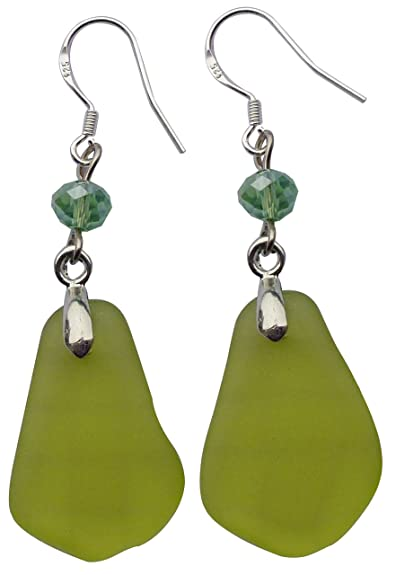 04f0c269a Image Unavailable. Image not available for. Color: Fashion Olive Green  Beach Sea Glass Earring ...