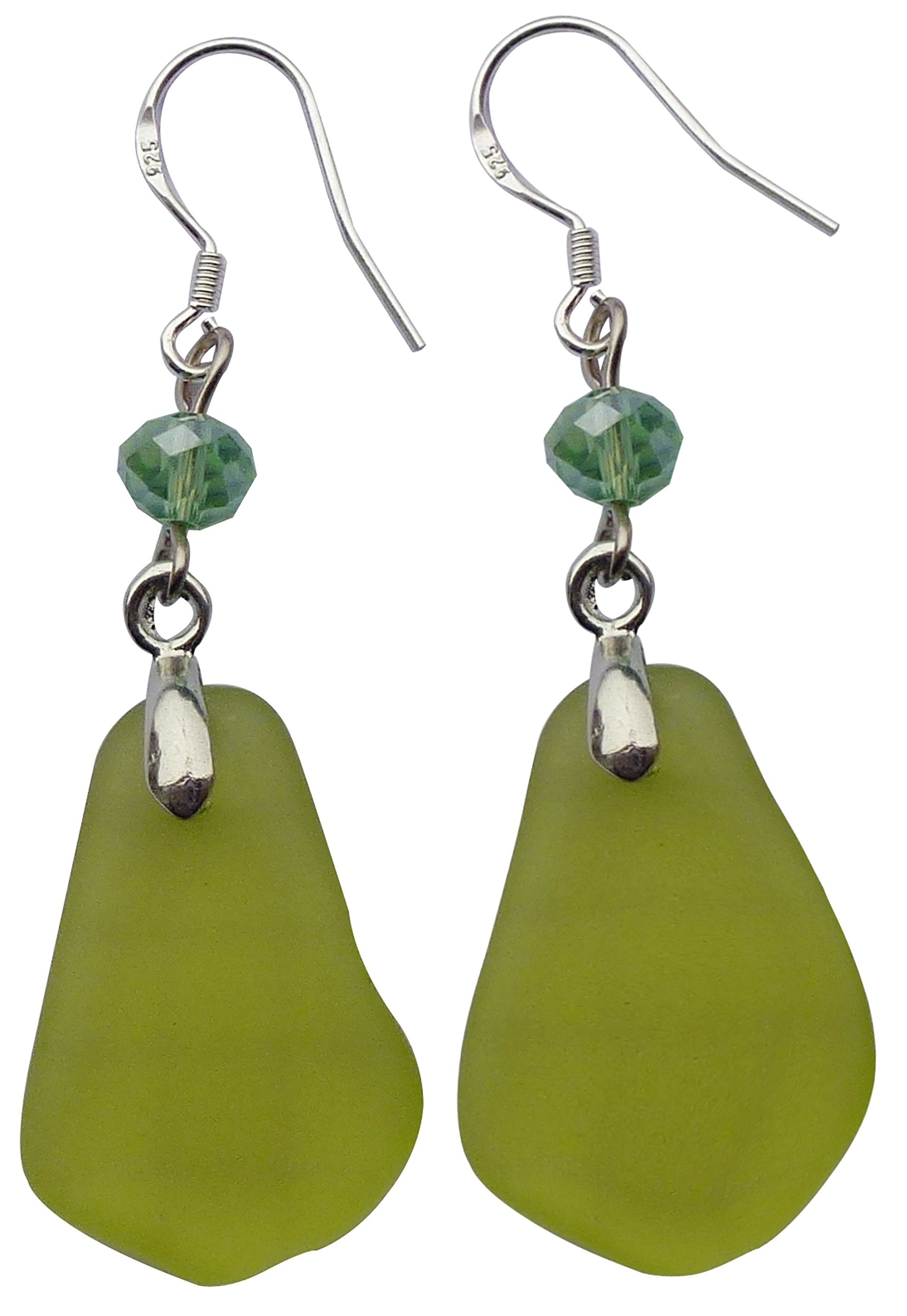 Fashion Olive Green Beach Sea Glass Earring Drop Dangle Handmade with Silver Hook,Gift Package JCT ECO