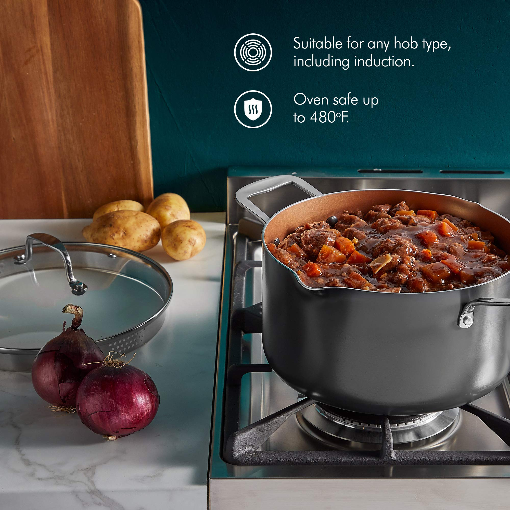 VonShef Casserole and Pasta Multi Pot with Strainer Lid, Easy Clean, Non-Stick Copper-Colored Interior, Stainless Steel Handles and Tempered Glass Lid, Induction Hob Ready, Copper, 5 Quart Capacity by VonShef (Image #4)