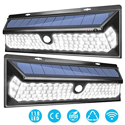 Super Bright 118 LED Solar Security Lights Outdoor JACKYLED Solar Motion Sensor Wall Lights with 270° Wide Angle Lighting for Front Door Back Yard Garage Deck Porch Step Stair Garden Patio (2-Pack)