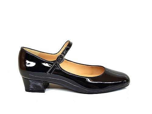 b3ff007e796 Gennia AMERCE - Bailarinas Tipo Bailarina Mary Jane de Piel para Mujer con Punta  Cerrada Redonda y Tacon Bajo 2 cm + Cierre con Hebilla: Amazon.es: Zapatos  ...