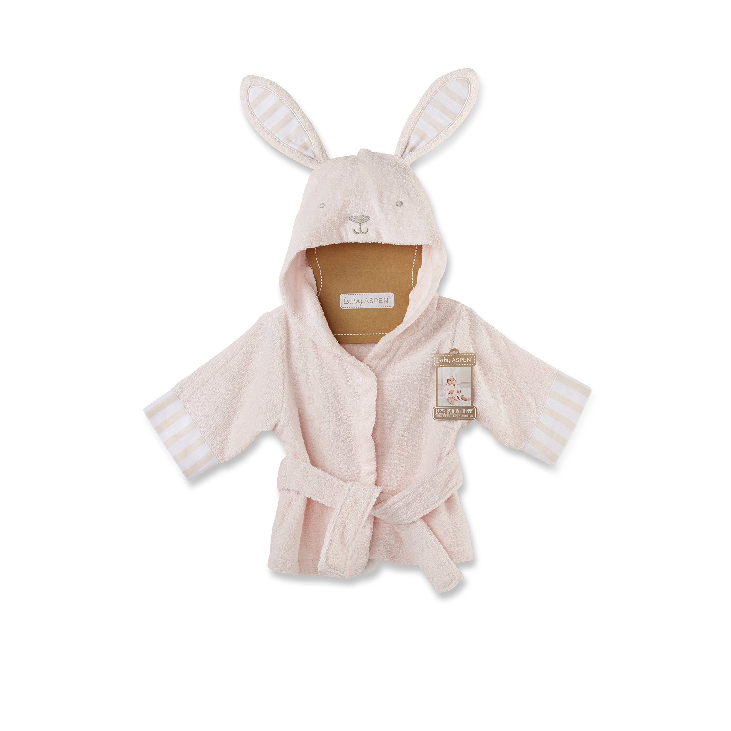 Baby Aspen Baby's Bath Time Bunny Hooded Spa Robe, Pink, 0-9 Months by Baby Aspen