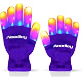 The Noodley Purple Small Toy Light Up Children LED Gloves Girls and Boys Funky Flashing Orange, Pink, and Blue - Kid Sized Ag