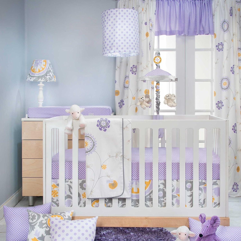 Sweet Potato Fiona 3 Piece Set Includes Quilt, Micro Dot Sheet, Crib Skirt, Purple/White/Yellow