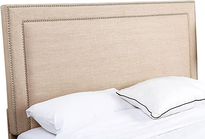 Amazon Com Abbyson Living Full Queen Size Fabric Upholstered Headboard With Silver Nailhead Trim Wheat