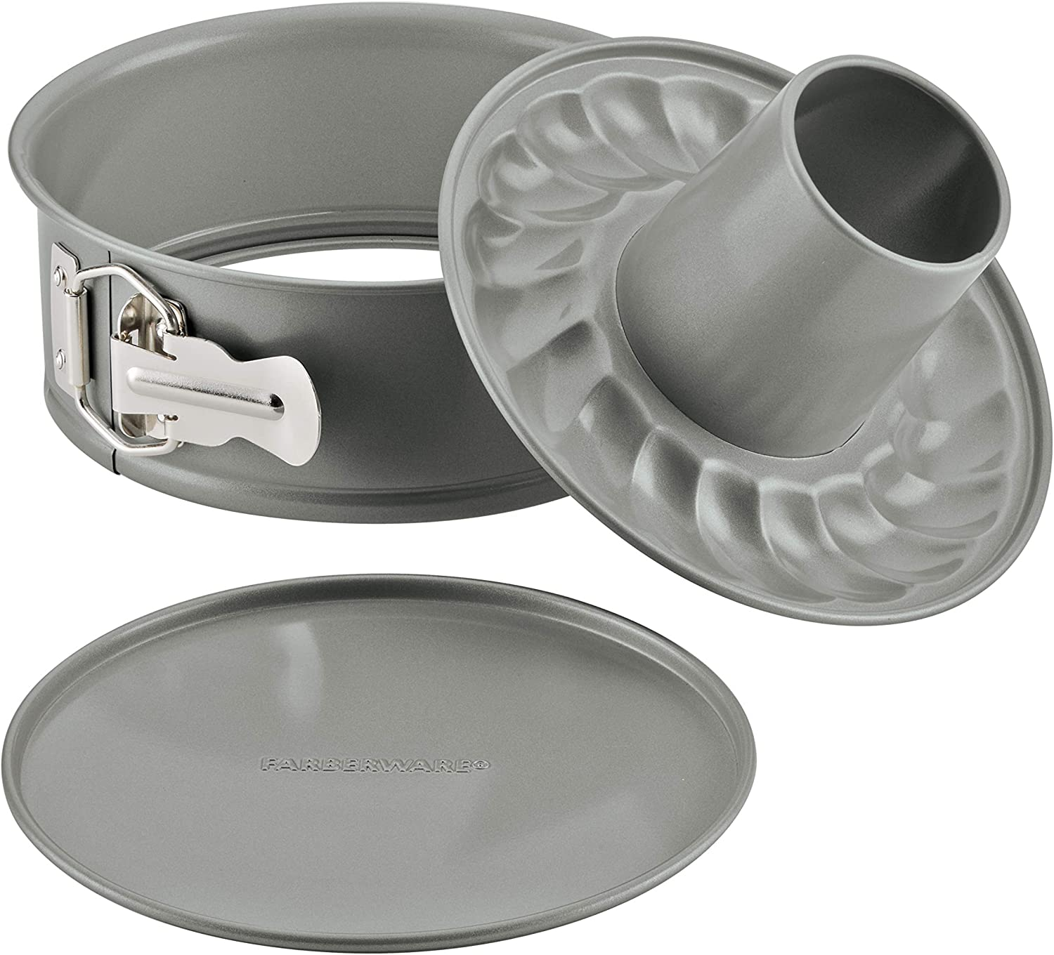 Farberware Pressure Cooker Bakeware 2-in-1 Nonstick Springform with Fluted Mold Insert, 7-Inch, Gray, 7 Inch