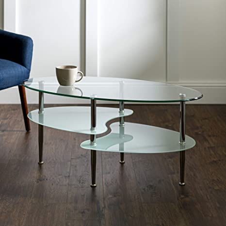 We Furniture Modern Glass Oval Wave Top Coffee Table Open