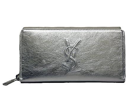 8caafc6203e6 Image Unavailable. Image not available for. Color  Yves Saint Laurent  Wallet YSL Belle du Jour Silver Leather Zip ...