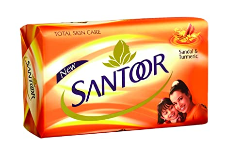 Santoor Total Skin Care Sandal And Turmeric Soap Bathing Bar 100g Bar Soaps pack Of 8