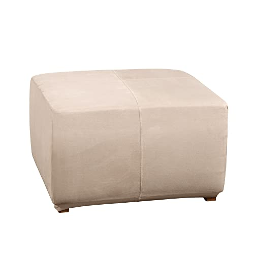 SURE FIT Ultimate Heavyweight Stretch Suede Ottoman Cover Cement