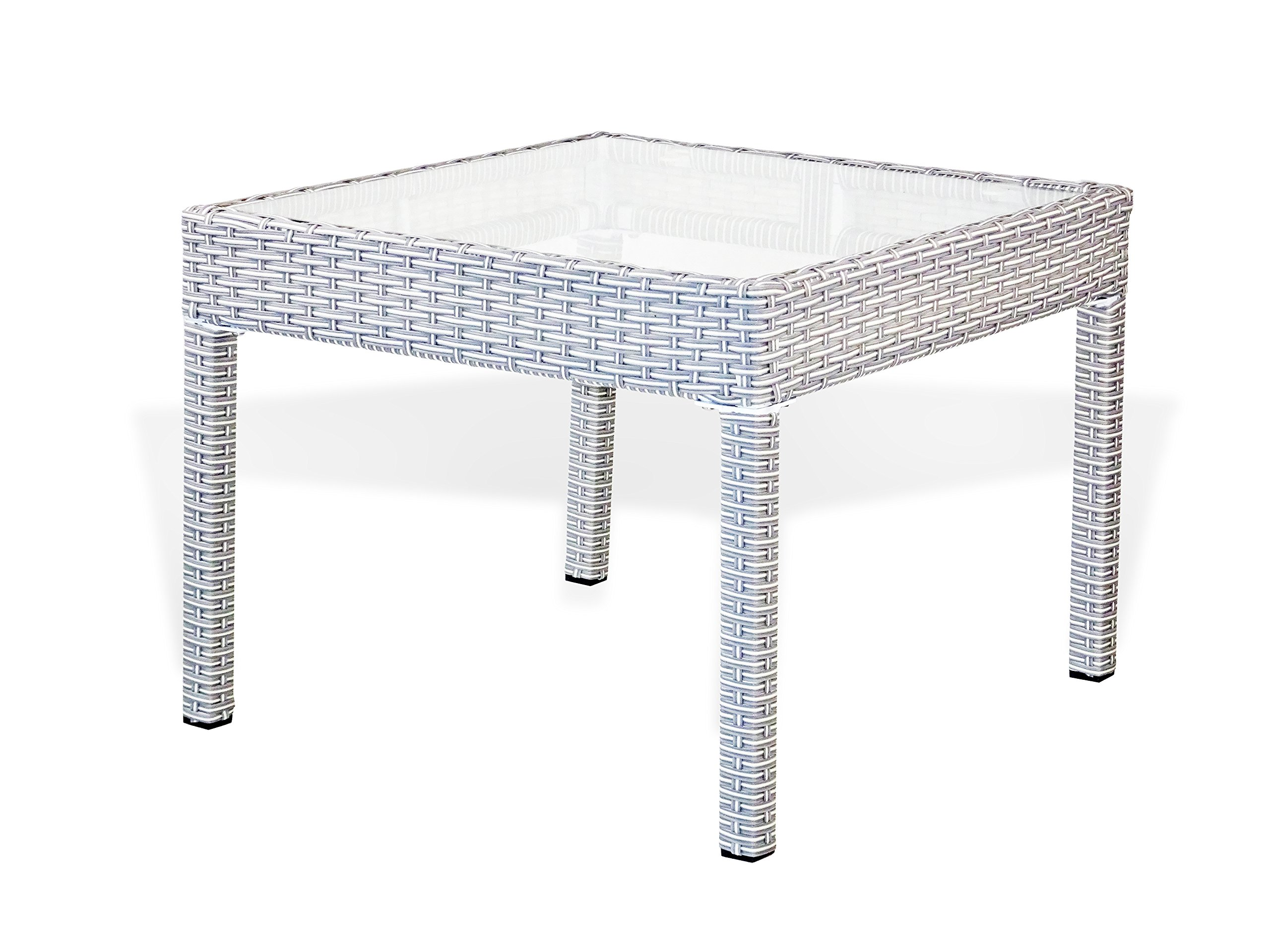 Patio Resin Outdoor Wicker Side End Square Small Coffee Table w/Glass. Gray
