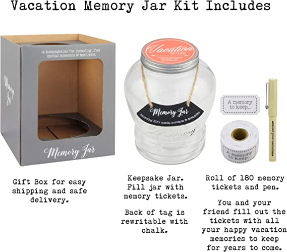 Top Shelf Vacation Memory Jar Unique Keepsakes For Friends And Family Thoughtful Gift Ideas Kit Comes With 180 Tickets Pen And Decorative Lid Amazon Ca Home Kitchen