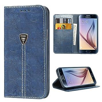 Carcasa Samsung Galaxy S6, Galaxy S6 Funda con tapa libro piel y TPU cartera cover Funda de cuero carcasa bumper protectores estuches soporte flip ...