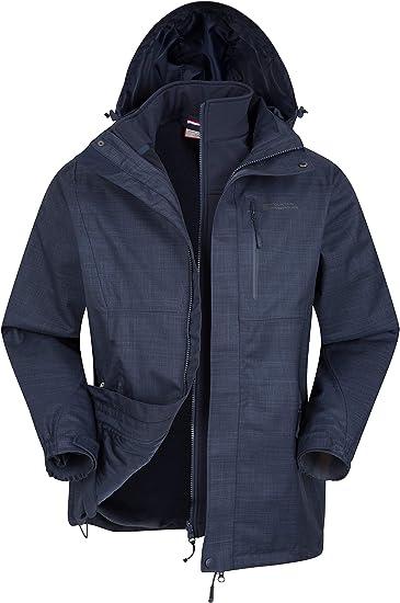 TALLA XL. Mountain Warehouse Bracken Mezcla 3 en 1 Chaqueta de Mens - Chaqueta Liviana para Todas Las Estaciones, Costuras Selladas, Impermeable para la Lluvia, Transpirable